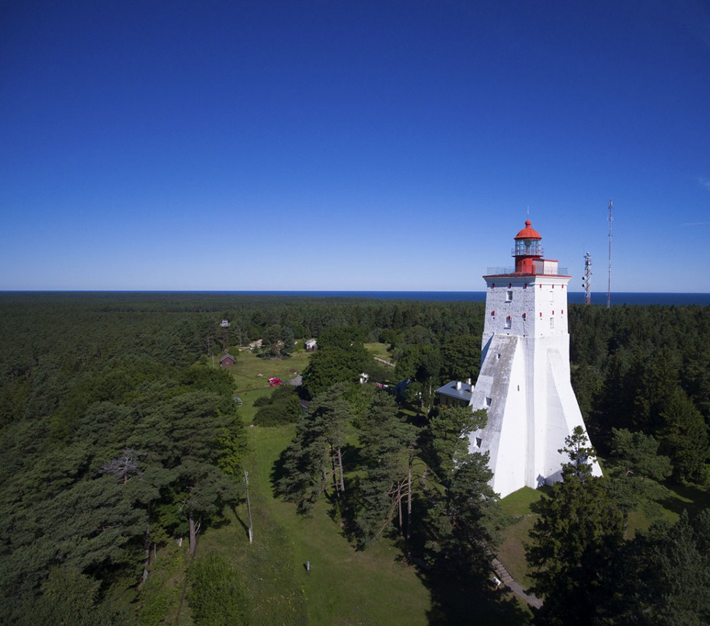 Kõpu Lighthouse on the Estonian Island of Hiiumaa From a Drone