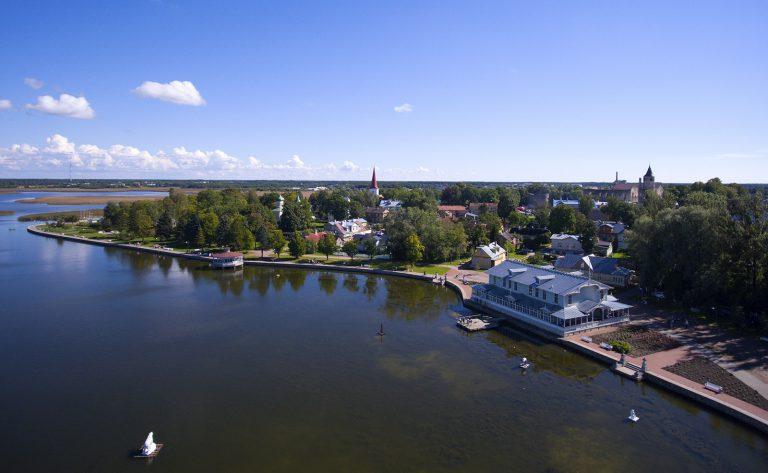 Summer in Haapsalu, Estonia: Seaside Drone Flight From the Old Railway Station to the Promenade
